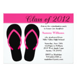 2012 Graduation Party Pink and Black Flip Flops Card