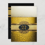21st Mans Beer Black Gold Birthday Party Invitation