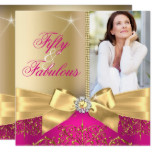 50 & Fabulous Photo Gold Pink Bow 50th Birthday Card