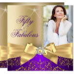 50 & Fabulous Photo Gold Purple Bow 50th Birthday Card