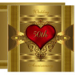 50th Anniversary Ornate Red Jewelled Heart Gold 2 Invitation