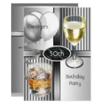 50th Birthday Party Mens Drinks Balloons Silver Invitation