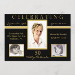 50th Birthday Party Tri Photo Invitations