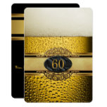 60th Mans Beer Black Gold Birthday Party Invitation