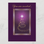 Abstract Christmas Tree glowing purple Invitation