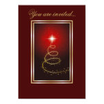 Abstract Christmas Tree glowing red Invitation