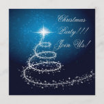 Abstract Christmas Tree Party  Invitation Blue