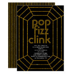 Art Deco gold black pop fizz clink New Year party Invitation