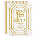 Art Deco gold white pop fizz clink New Year party Invitation