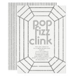Art Deco silver pop fizz clink New Year party Invitation