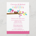 Baby Birds Nest Triplets Baby Shower Invitations
