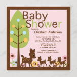 Baby Deer Triplets Multiple Baby Shower Invitation