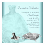 Ball Gown High Heel Shoes Teal Blue Quinceanera Card