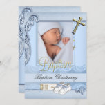 Baptism Blue Gold Cross Boy Christening 2 Invitation