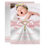 Baptism Christening Gold Cross Girls Pink 2 Invitation