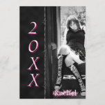 Barbed Black Hot Pink Graduation Announcement