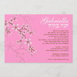 Bat Mitzvah Invitation Gabriella Pink Flowers