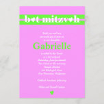 Bat Mitzvah Invitation Gabrielle Pink Green