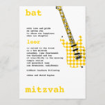 Bat Mitzvah Invitation Rock Star White/Yellow