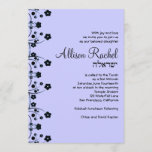 Bat Mitzvah Invitations Allison Sweet Flowers Grey