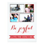 Be Joyful red banner Christmas Groupon photo Card