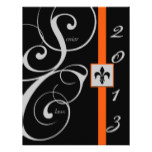 Black and Orange Scroll Ribbon Graduation Card
