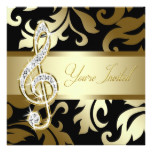 Black Gold Music Treble Clef Musical Event Card