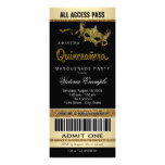 Black Gold Ticket Quinceanera Masquerade Party Card