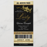 Black Gold Ticket Style Masquerade Party Invitation