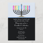 Black Menorah Hanukkah Celebration Invitation