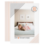 Black, peach stripes New Year's 2018 simple photo Card