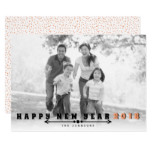 Black, peach typography Happy New Year 2018 photo Card