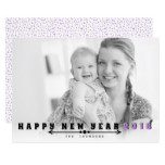 Black, purple typography Happy New Year 2018 photo Card