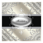 Black Silver Ivory Black White Party Card
