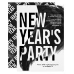 Black, white watercolor New Year's 2019 Eve party Invitation