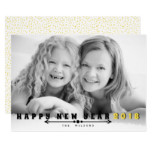 Black, yellow typography Happy New Year 2018 photo Card