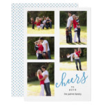 Blue cheers to New Year 2018 photo collage trendy Card