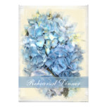 Blue Hydrangea Flower Wedding Rehearsal Dinner Card