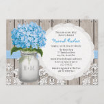 Blue Hydrangea Monogrammed Mason Jar Bridal Shower Invitation