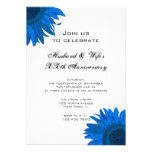 Blue Pop Art Flower Wedding Anniversary Party Card