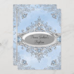 Blue Sparkle Jewel Baptism/Christening Invitation