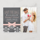 Blush Chalkboard Lace Bow Save the Date Postcard