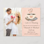 Blush Coffee Cup Monogram Heart Save the Date Announcement Postcard