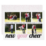 Blush pink, and black New Year Cheer photo collage Card