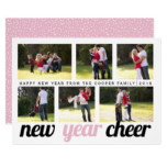Blush pink, black New Year Cheer six photo collage Card