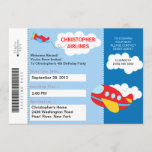 Boarding Pass Airplane  Birthday Party Invitation