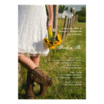 Bride, Cowboy Boots and Sunflowers Bridal Shower Invitation