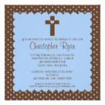 Brown & Blue Baby Boy Baptism Inviation Card