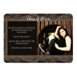 Brown Floral Photo Frame Graduation Announcement