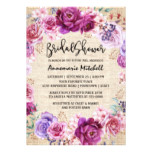 Burgandy and Burlap Floral Wreath Bridal Shower Card